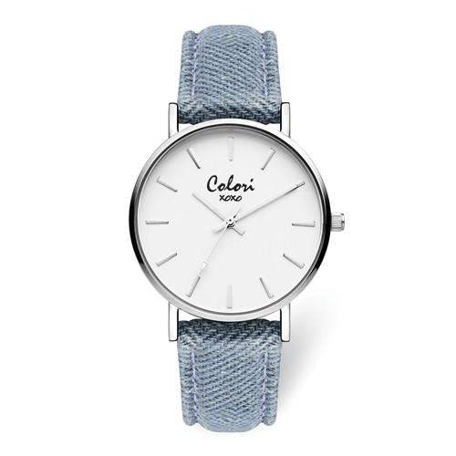 Colori Silver Light Blue Jeans Strap Watch