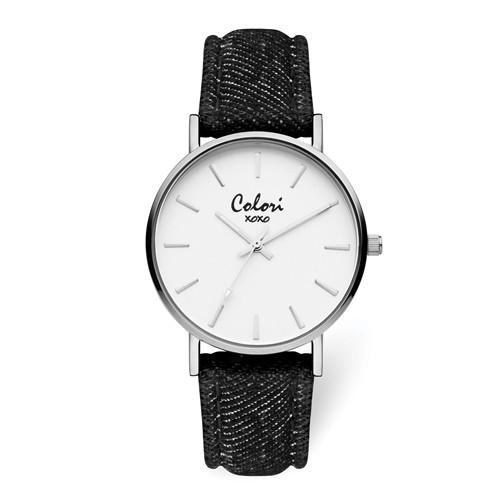 Colori Silver IP-Plated Black Jeans Strap Watch