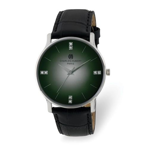 Charles Hubert Mens Stainless Steel Green Dial Watch