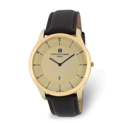 Charles Hubert IP-Plated Stainless Steel Gold Dial Watch
