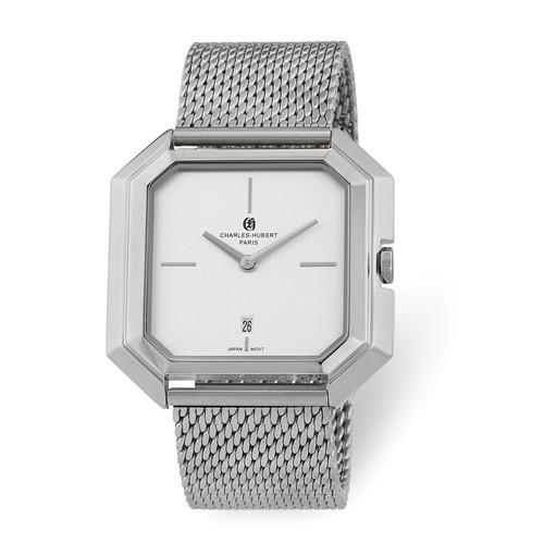 Charles Hubert Mens Stainless Mesh Silver Dial Quartz Watch