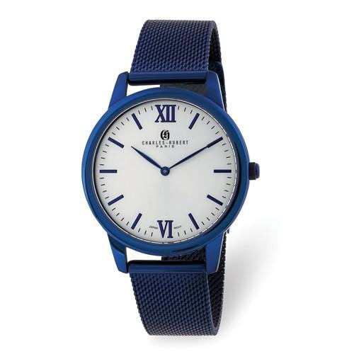 Charles Hubert Mens Blue IP-Plated Stainless Off-White Dial Mesh Watch