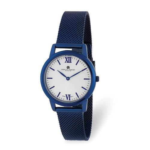 Charles Hubert Ladies Blue IP-Plated Stainless Off-White Dial Mesh Watch