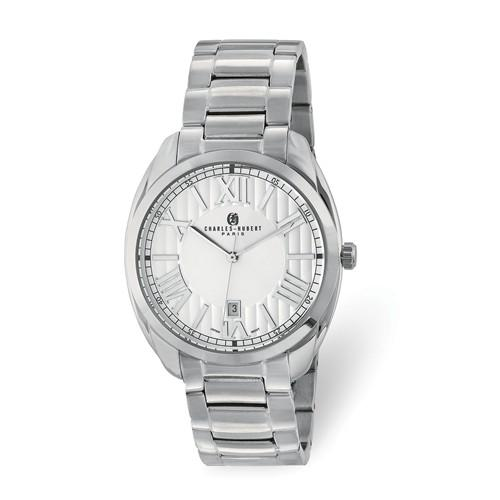 Charles Hubert Mens Stainless Steel Off-White Dial Watch