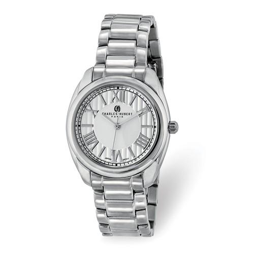 Charles Hubert Ladies Stainless Steel Off-White Dial Watch
