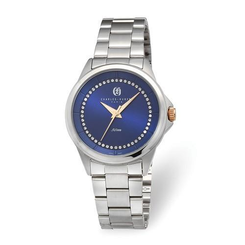 Charles Hubert Ladies Stainless Steel Blue Crystal Dial Watch