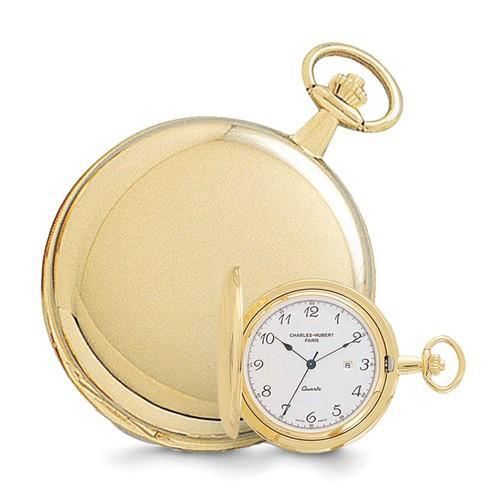 Charles Hubert 14k Gold Finish White Dial With Date Pocket Watch