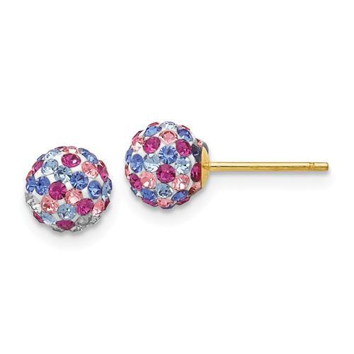 14k Blue Pink Multi Crystal 6mm Post Earrings