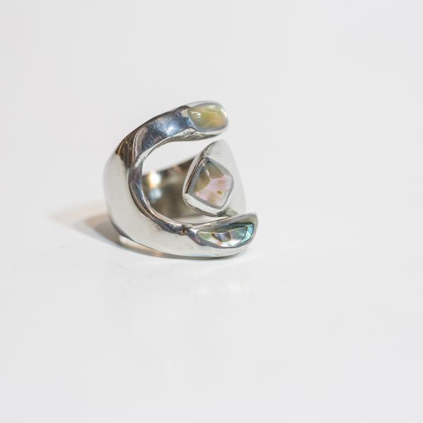 Abalone Inlaid Adjustable Ring