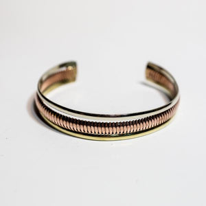 Perpendicular Mixed Metal Cuff