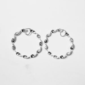 Sterling Silver Sparkling Twisted Hoops