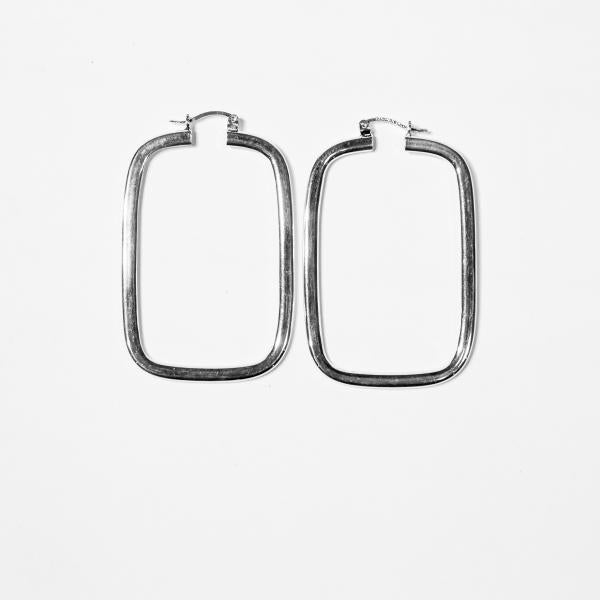 Sterling Silver Closed Rectangle Hoops