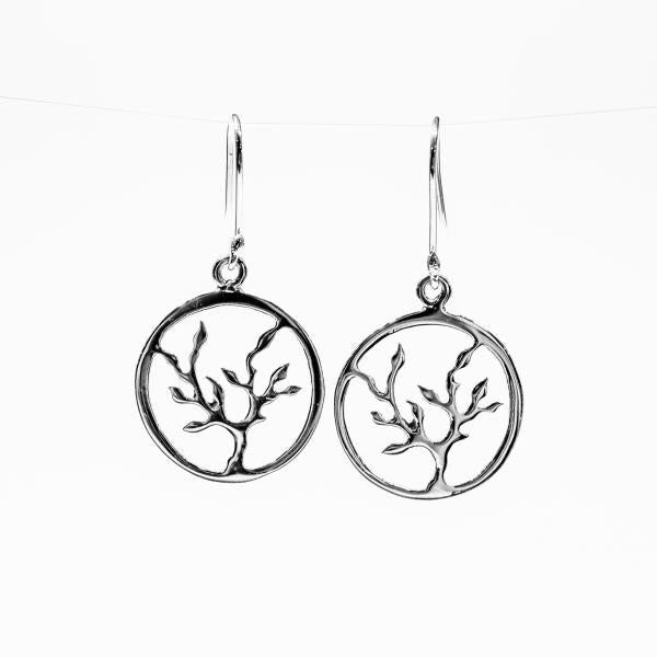 Tree of Life Sterling Silver Wire Hook Earrings