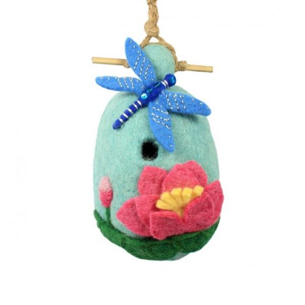 Lotus Dragonfly Felted Birdhouse