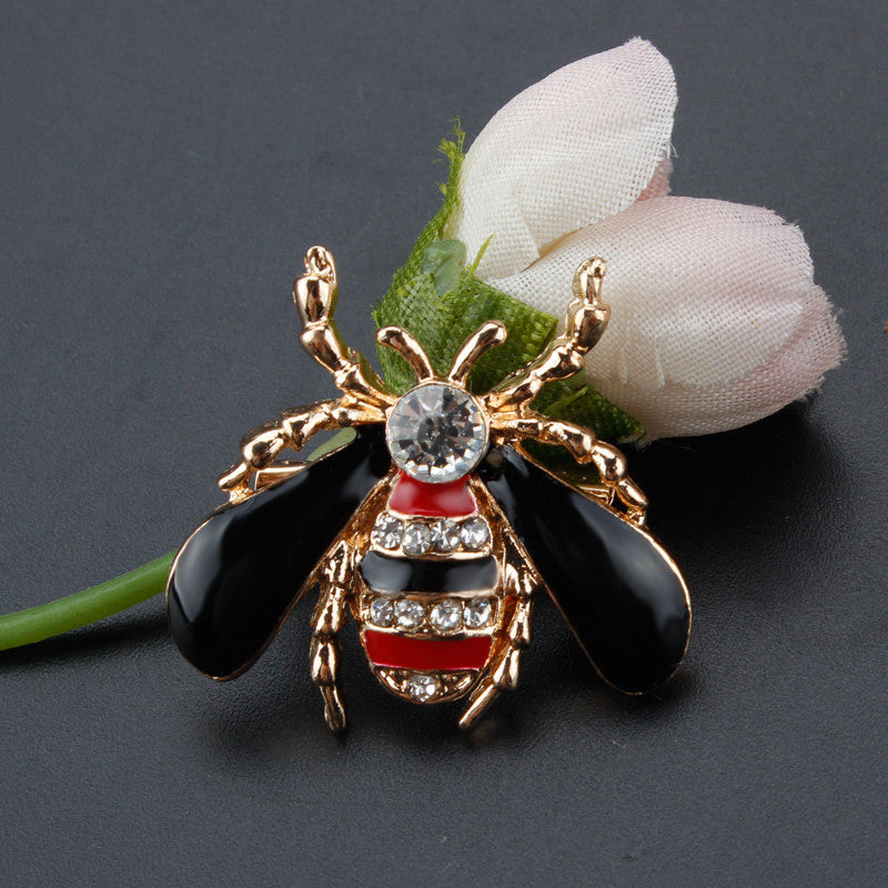 Crystal Bee Insect  Rhinestones Brooch Lapel Pins for Women or Men