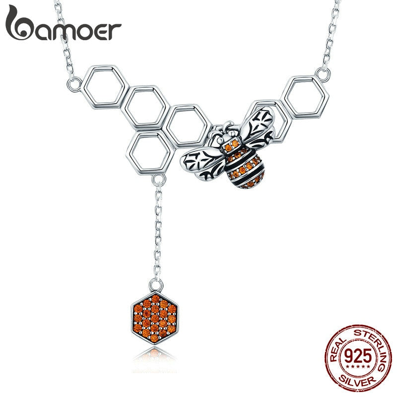 Sterling Silver Bee Honeycomb Dangle Pendant Necklace