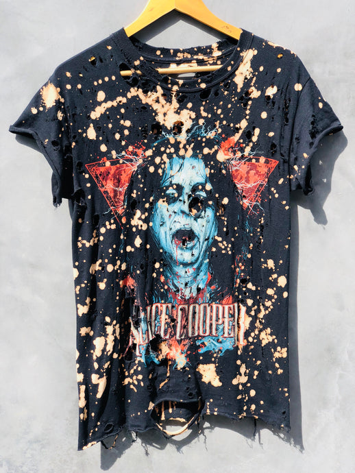 Limited Edition Alice Cooper Acid Washed Destroyed T Shirt