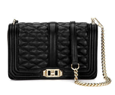 Rebecca Minkoff Chevron Quilted Sm Love Crossbody - Black/Gold - Reluxed Luxury
