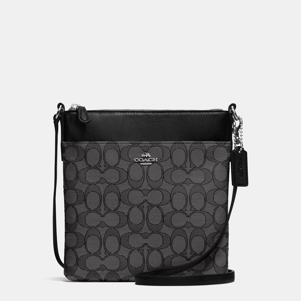Coach North/South Logo Swingpack-Silver/Black Smoke/Black