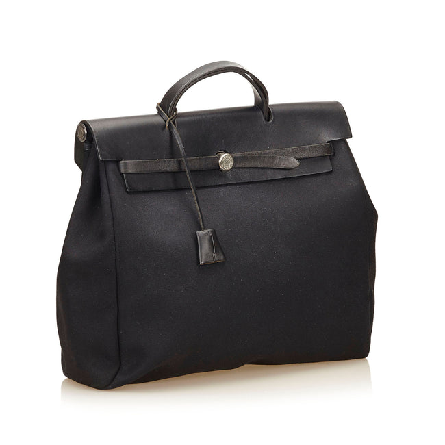 Hermes 35cm Black Canvas and Leather Herbag MM 2-in-1 Bag - Reluxed Luxury