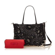 Valentino Black Leather Flower Beaded Tote bag - Reluxed Luxury