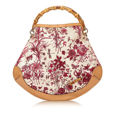 Gucci Floral Canvas Bamboo Tote Bag - Reluxed Luxury