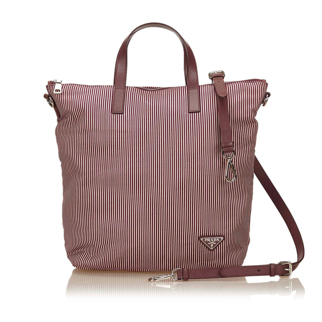 Prada Pink x Red x Bordeau Cotton Tote Bag