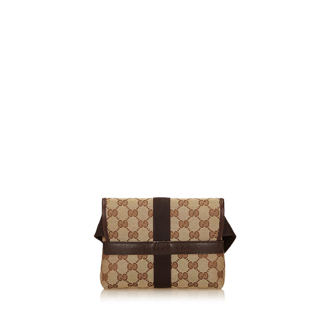 GUCCI GG Pattern Canvas, Leather Browns Waist Belt bag