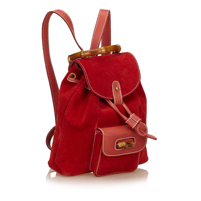 Gucci Red Suede Bamboo backpack
