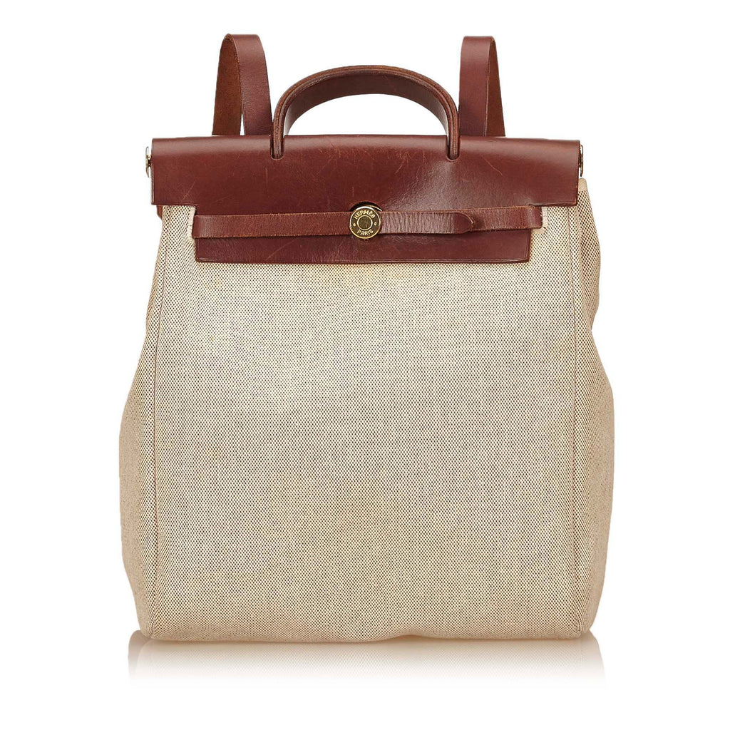 HERMES Toile Canvas Herbag 2 in 1  Tan