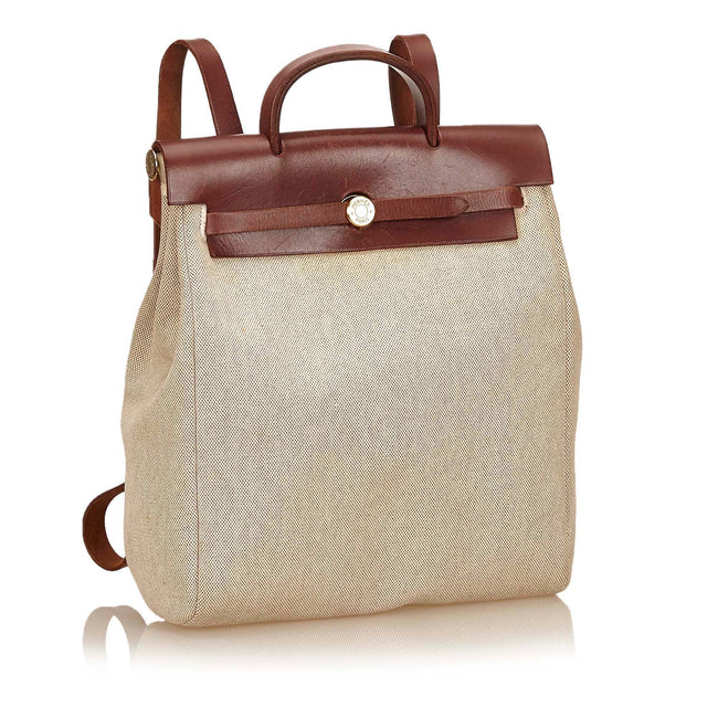 HERMES Toile Canvas Herbag 2 in 1  Tan - Reluxed Luxury
