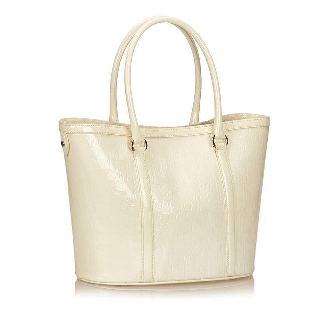 Christian Dior White Patent Leather Tote bag - Reluxed Luxury