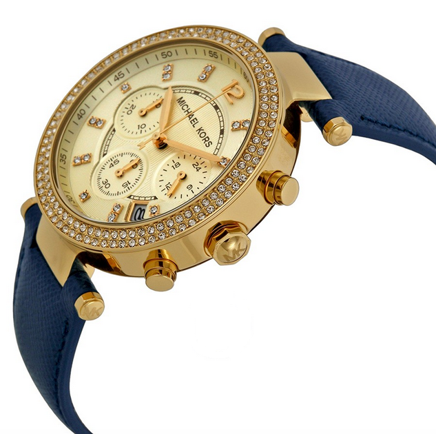 Michael Kors Parker Chronograph Gold-tone Navy Leather Ladies Watch