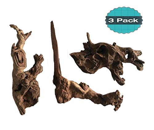 Hamiledyi 3 Pcs Natural Driftwood Branches Reptiles Aquarium Fish Tank Decoration, Large