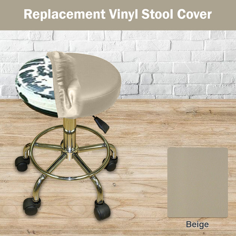Beige Elastic Vinyl Slip On Stool Cover