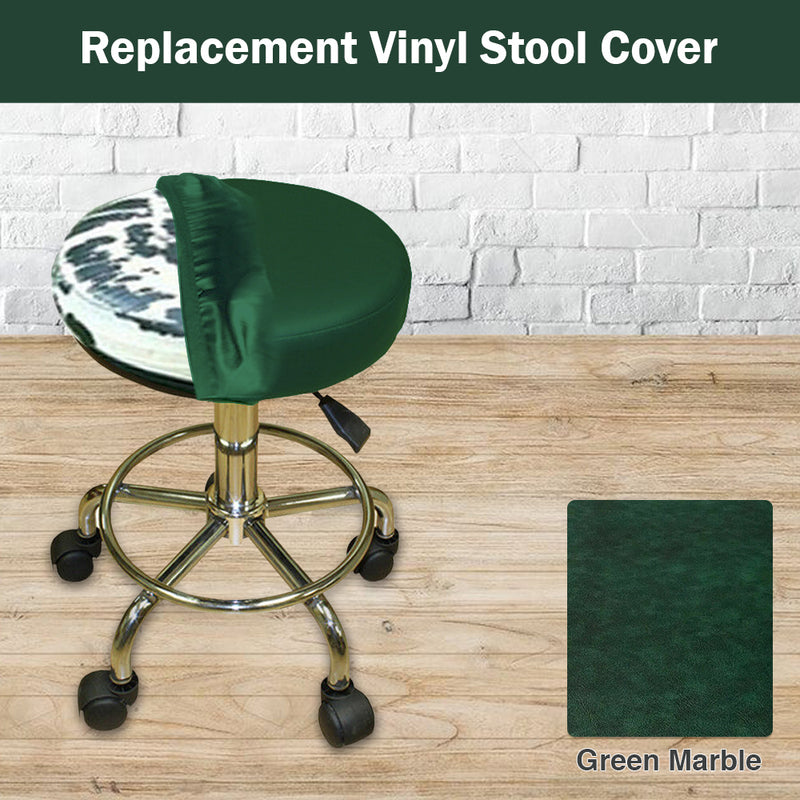 Green Marble Vinyl Replacement Staple On Bar Stool Cover