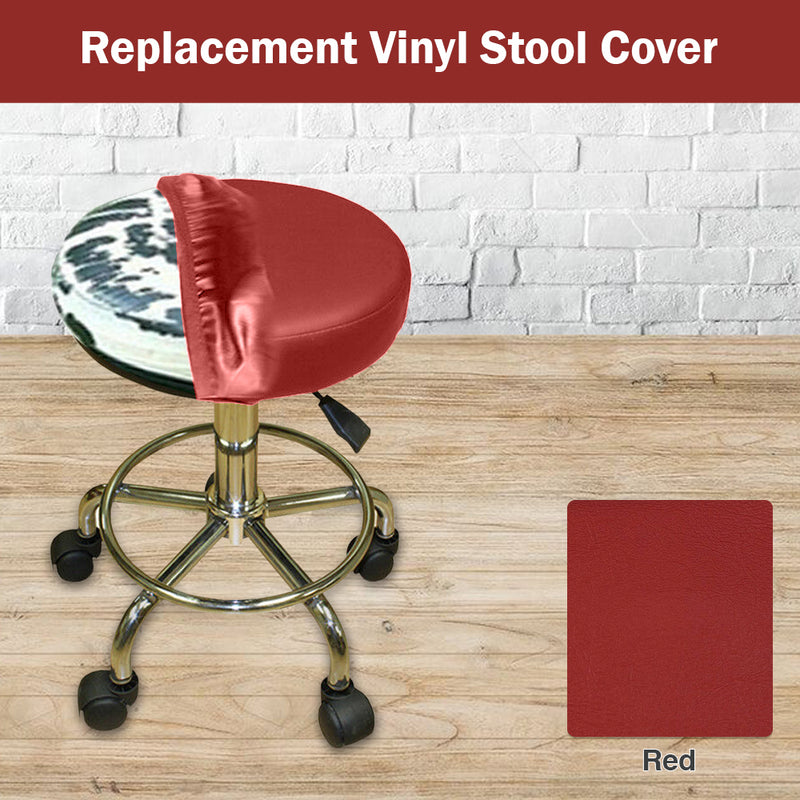 Red Vinyl Staple on Bar Stool Cover