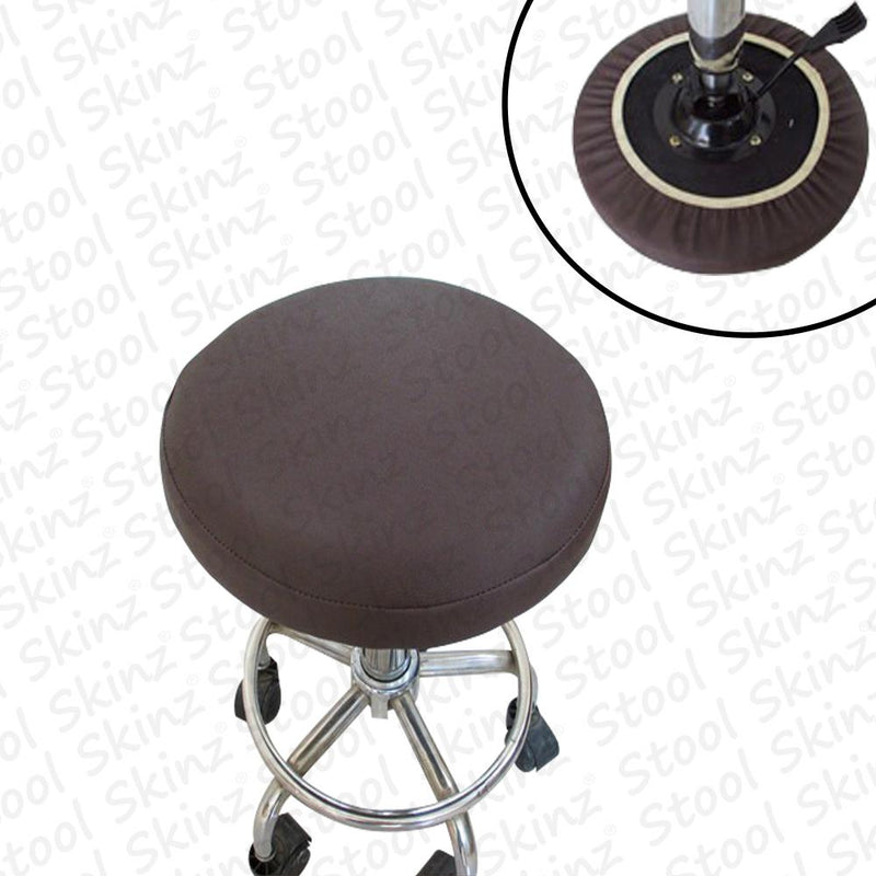 Brown Vinyl Elastic Slip On Bar Stool Cover