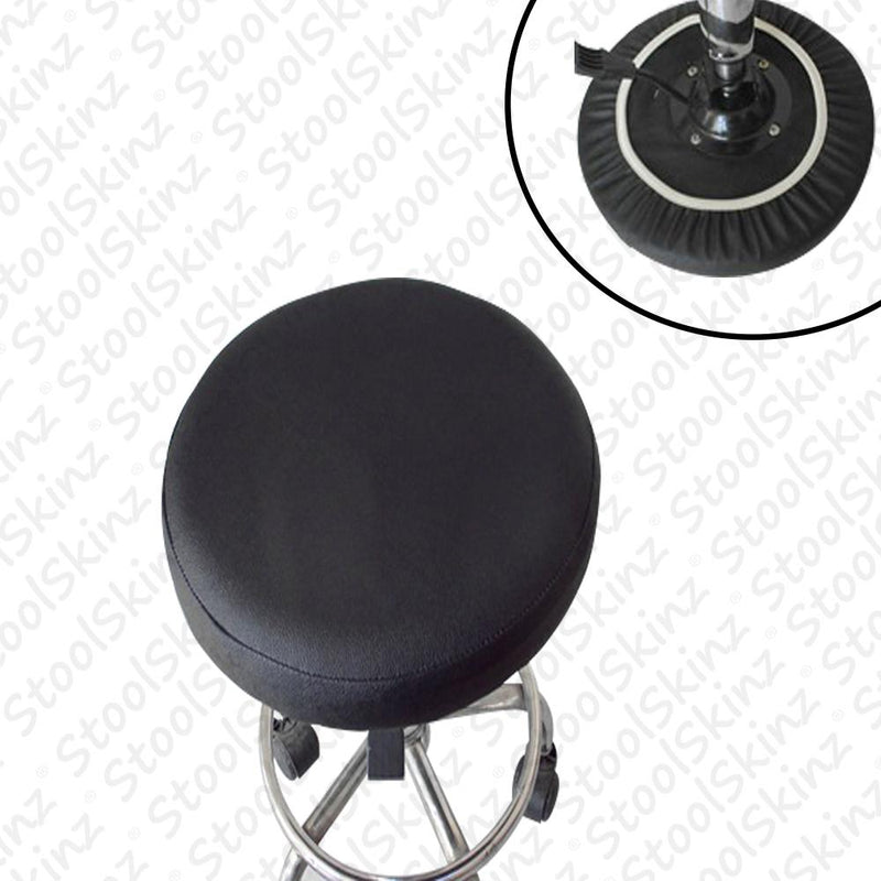 Black Vinyl Elastic Slip On Bar Stool Cover
