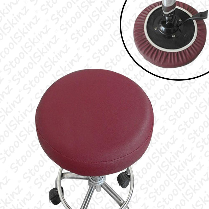 Burgundy Vinyl Elastic Slip On Bar Stool Cover