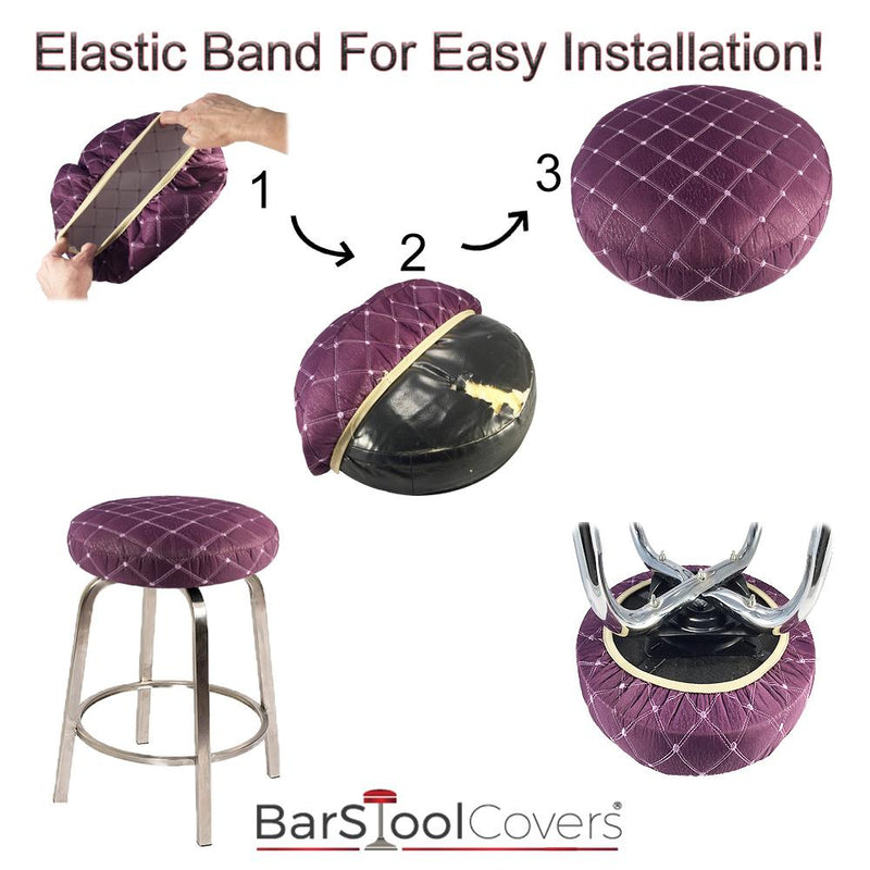 Purple and Tan Cloth Bar Stool Protector Cover