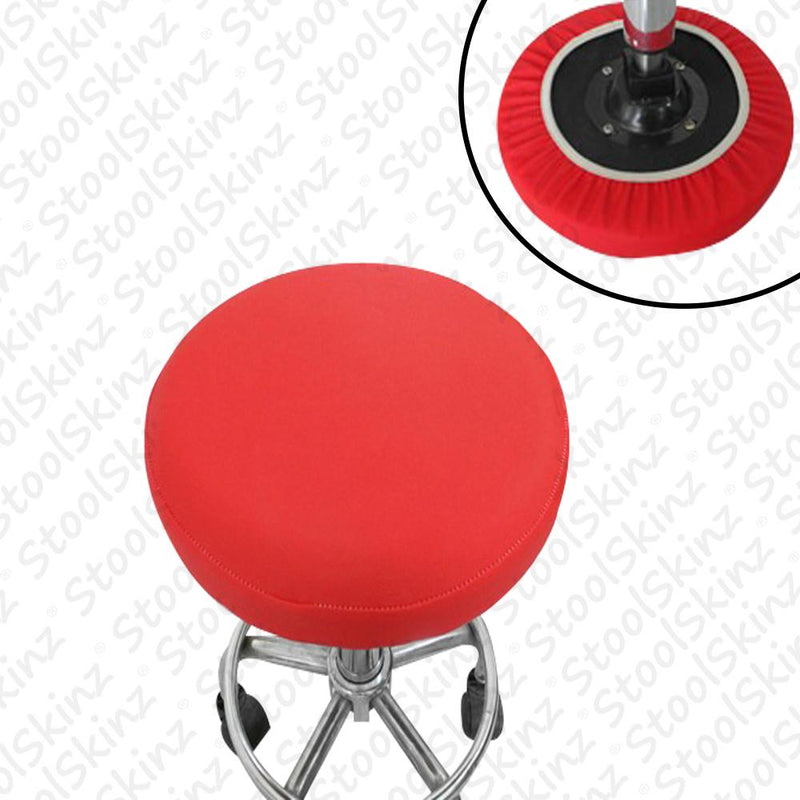 Red Vinyl Elastic Slip On Bar Stool Cover