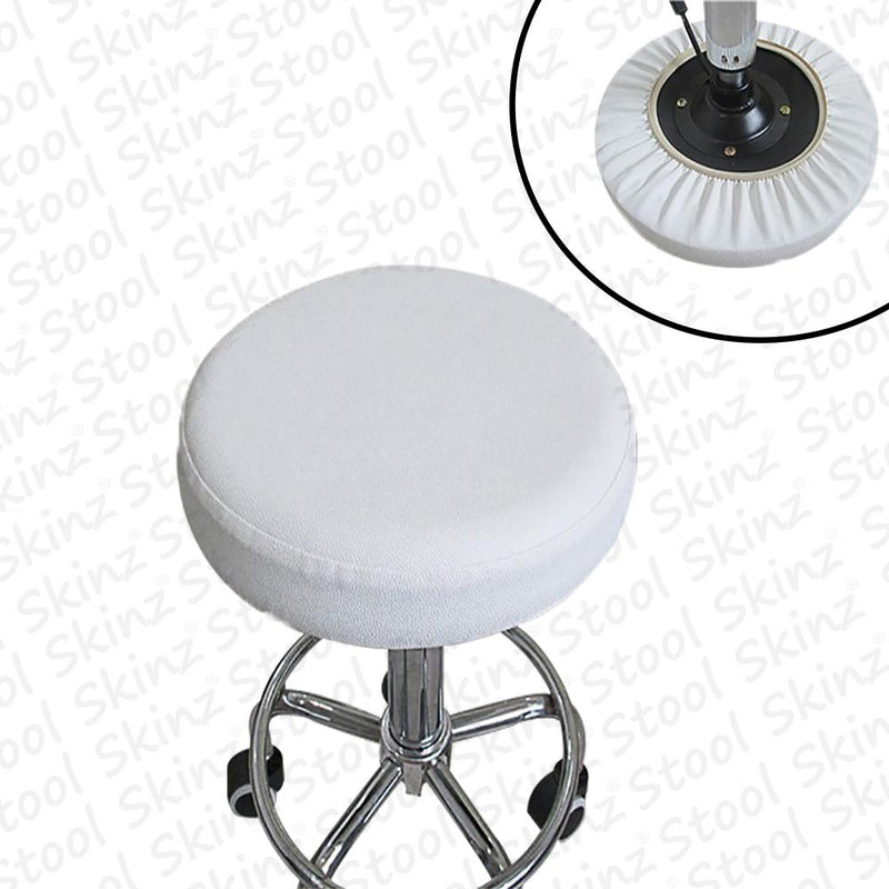 White Vinyl Elastic Slip On Bar Stool Cover