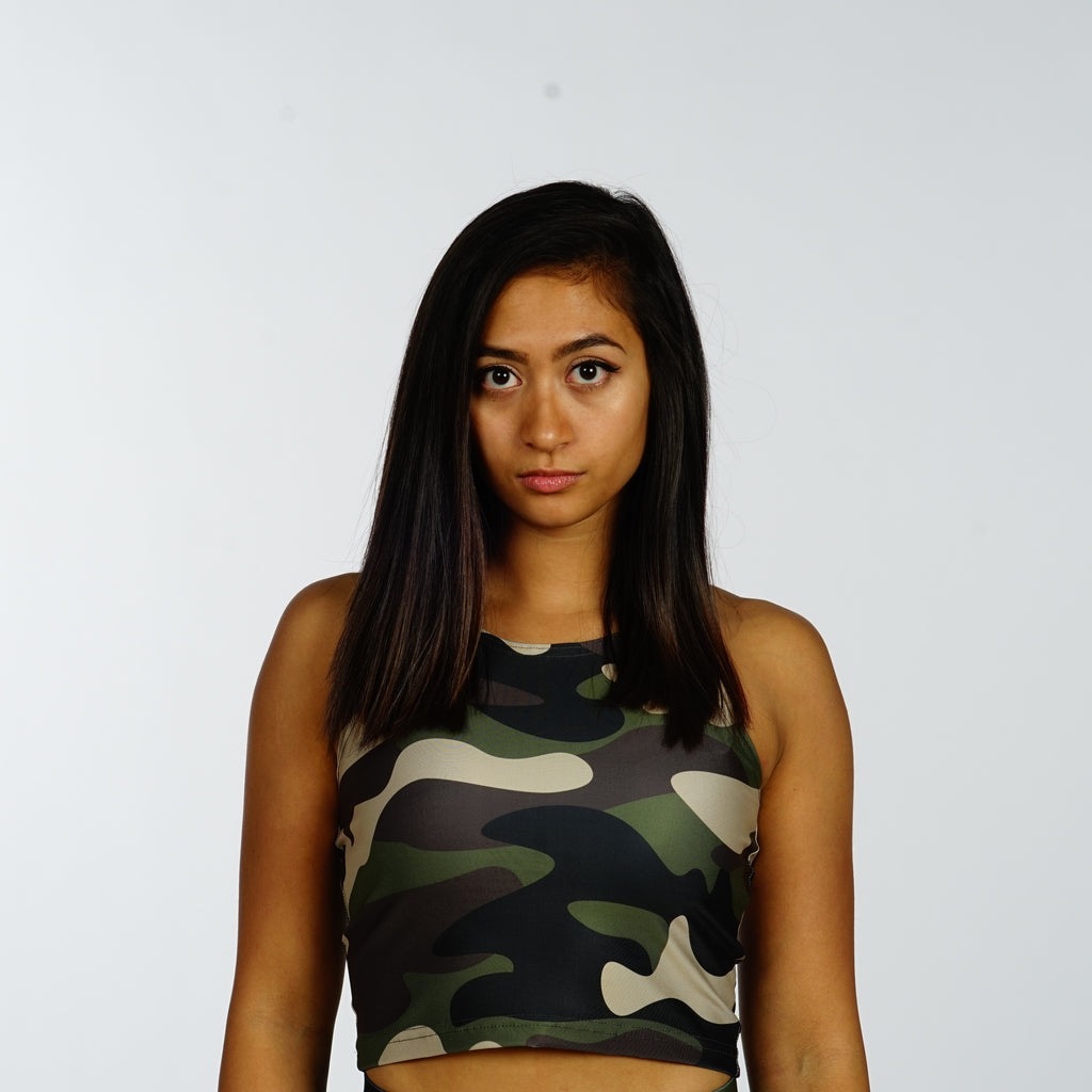 Green Camo Crop Top - Iron Queen