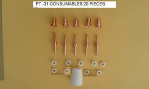 PLASMA CUTTER PT-31 EXTENDED CONSUMABLES 20 PIECES