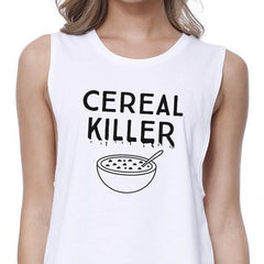 Cereal Killer Womens White Crop Top - Slangz TeeZ