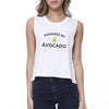 Powered By Avocado Womens White Graphic Crop Top Unique Design Tee - Slangz TeeZ