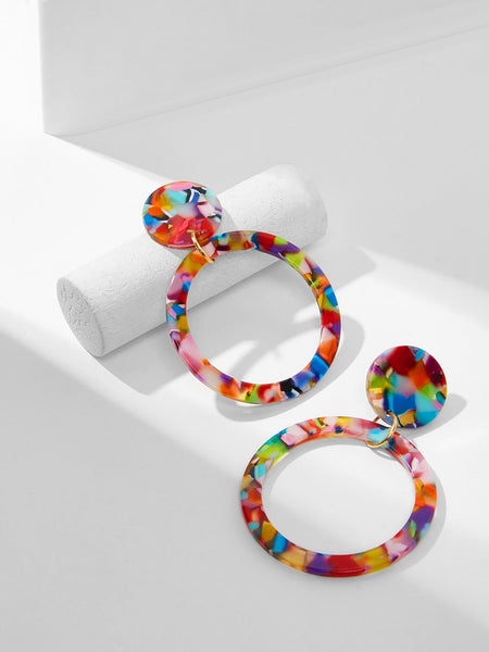 Color-block Marble Pattern Hoop Drop Earrings 1pair - Slangz TeeZ