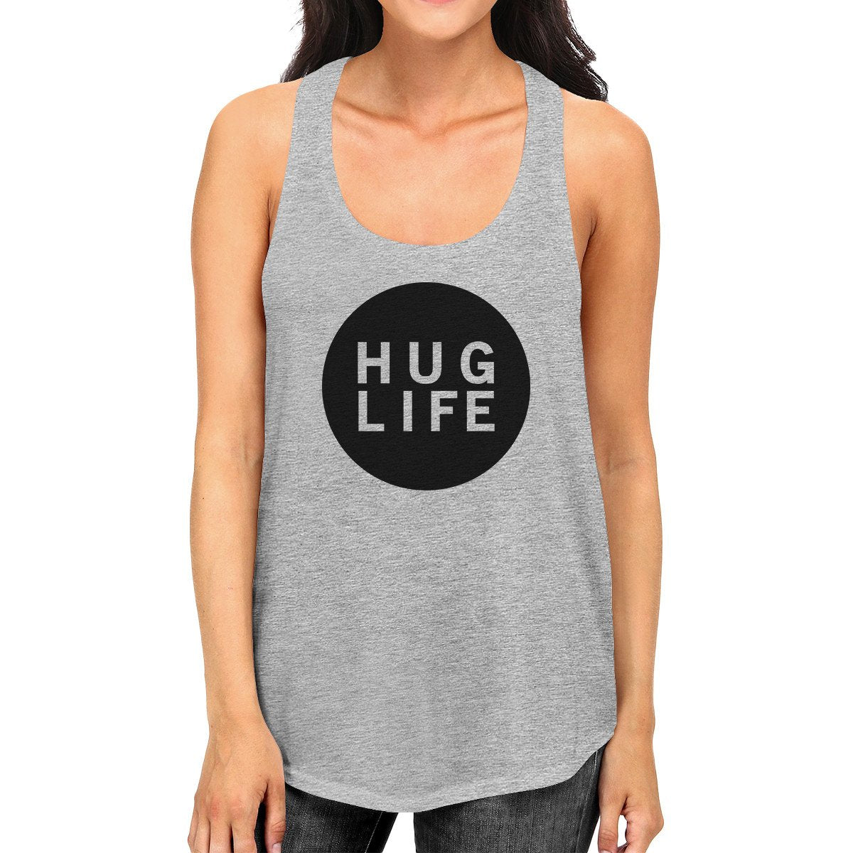 Hug Life Womens Gray Sleeveless Tank Life Quote Gift Ideas For Her - Slangz TeeZ