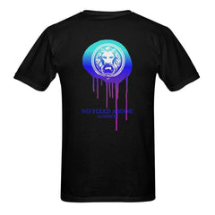 Front Blue Drip NFA Lion Back Mens Black T-shirt - Slangz TeeZ